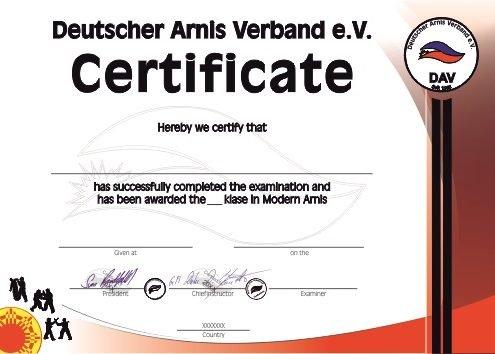 Deutscher Arnis Verband Schülerurkunde Ausland