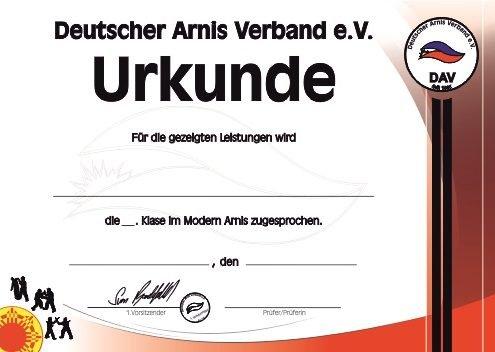 Deutscher Arnis Verband Schülerurkunde
