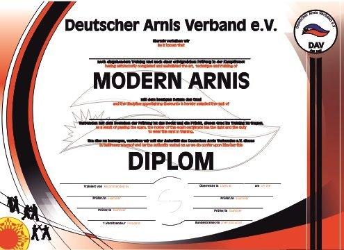 Deutscher Arnis Verband DAN Urkunde DAV